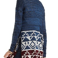 Marled Aztec Print Cardigan by Charlotte Russe - Navy Combo