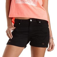 "Refuge ""Boyfriend"" Rolled-Up Denim Shorts by Charlotte Russe - Black"