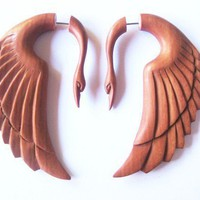 Stunning rose wood swan fake gauge earrings by shayisa on Etsy