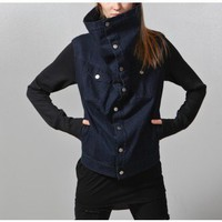 sherpa square collar denim jacket
