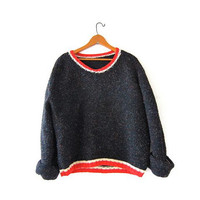 vintage speckled sweater. oversized slouchy pullover. boxy knit sweater. cropped sweater. chunky knit. loose knit.