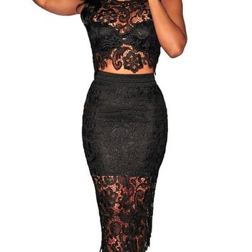 Sexy Women's Floral Lace High-waisted Skirt Set 2 Pieces Bodycon Midi Dress (M, Black)