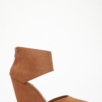 Zippered Faux Suede Wedges