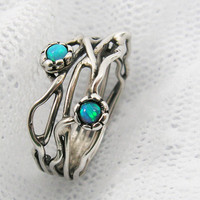 Sterling silver &amp; Opals organic design ring (sr-9906)