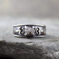 Diamond In The Rough Uncut Diamond Engagement Ring  - Raw Diamond - Sterling Silver Solitaire Ring