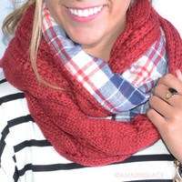 Love On Rewind Red Plaid Double Sided Knit Infinity Scarf - Red