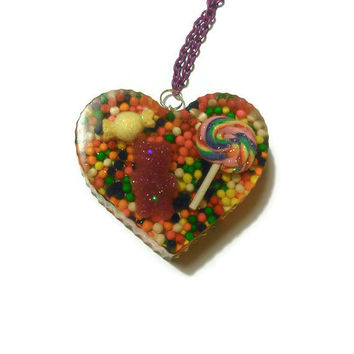 Candyland Inspired Large Rainbow Heart Pendant Necklace with Lollipop, Gummybear, and Candy Sprinkles Kawaii Decoden Lolita