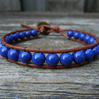Beaded Leather Single Wrap Bracelet with Blue Beads on Brown Leather