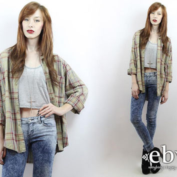 Vintage 90s Beige Plaid Flannel Shirt S M L Oversized Flannel Shirt 90s Grunge Shirt 90s Flannel Shirt Beige Plaid Shirt Beige Flannel Shirt
