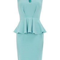 Aqua split neck peplum dress - View All  - Dresses