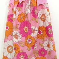Vintage Pillowcase Dress Pink with Orange White and Pink Flowers by UnexpectedTreasure