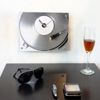 Modern Wall Clock : Retro Silver Record Clock