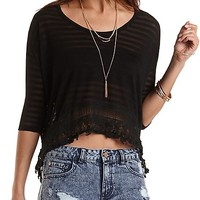 Sheer-Striped Crochet-Trim Cocoon Tee by Charlotte Russe