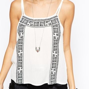 Glamorous Cheesecloth Cami with Embroidery
