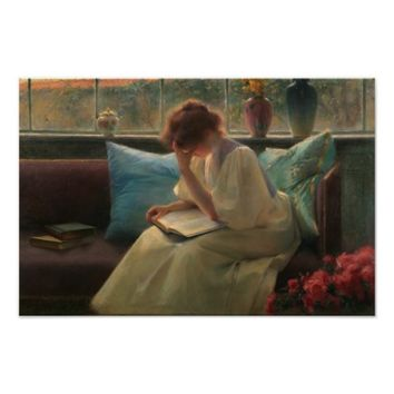 Thoughtful Reader - vintage art print