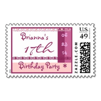 Custom Name 17th  Birthday Party in PINK Stamp