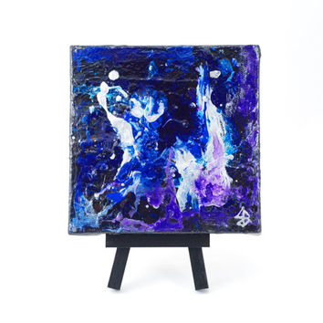 Abstract Mini 5 x 5 One of a Kind Acrylic Painting on Canvas with Easel Cosmic Dance Contemporary Fine Art Modern Painting Space Galaxy
