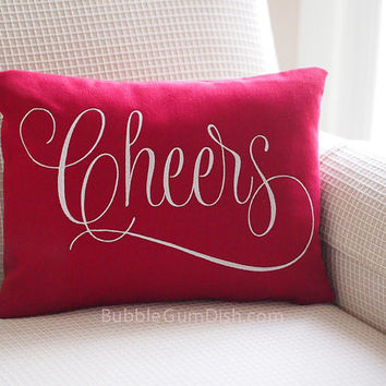 Cheers Wine Lover Wine Decor Red Holiday Decor Pillow Cover Embroidered Saying 12 x 16