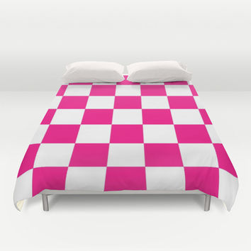 Pink And White Checkered Print Duvet Cover by KCavender Designs