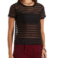 Sheer-Striped Organza Top by Charlotte Russe