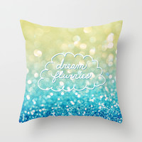 dream flurries Throw Pillow by Lisa Argyropoulos