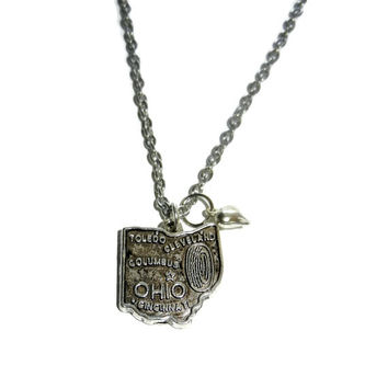 Silver State of Ohio Charm Necklace