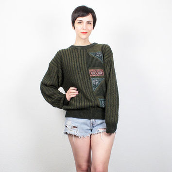 Vintage 80s Sweater Army Olive Green Black Striped Knit 1980s Sweater Patchwork Boyfriend Sweater Pullover Hipster Jumper S Small M Medium