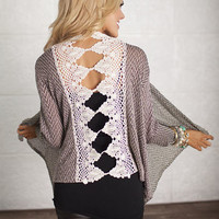 Backed with Lace Open Sweater Taupe