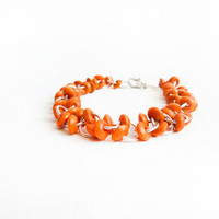 Orange wooden beads bracelet. Fall/ Autumn fashion jewelry Halloween