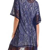Lace Fringe Kimono Top by Charlotte Russe - Navy Blue