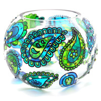 Hand Painted Glass Bowl, Blue-Green.. on Luulla