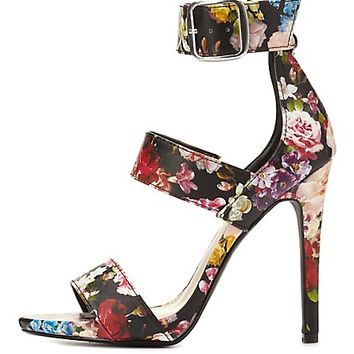 Floral Strappy Stiletto Sandals by Charlotte Russe - Black Multi