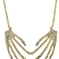 White Crystal Gold Skeleton Hand Necklace - Sheinside.com