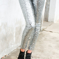 Show Stopper Sequin Leggings // Silver