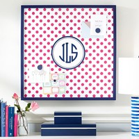 Magnetic Wall Art, Pink Dottie with Navy