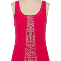 metallic embroidered front burnout tank