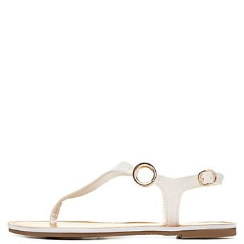 Thong Sandals with Gold Rings by Charlotte Russe - White