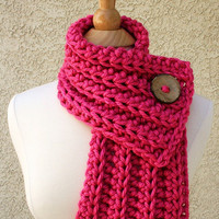On Sale - WEST BAY SCARF  - Warm, soft & stylish scarf with large brown coconut button - Hot Pink - Ready To Ship