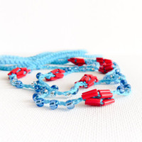Nautical Dreams Turquoise Blue red bead crochet skinny headband. Beach summer collection