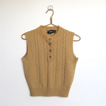 Vintage 1970s Panther / Tan Sleeveless Sweater Vest / Cable Knit Pullover