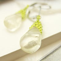 Clear Fluorite Earrings, Dangle Earrings, Green Beaded Earrings, Peridot Earrings, Romantic Earrings, OOAK Earrings by JeannieRichard