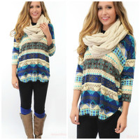 Hues Of Blue Printed Long Sleeve Dolman Top