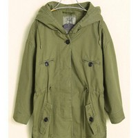Women Autumn Winter New Style Euro Style Hood Draw Cord Cotton Army Green Jacket S/M@WH0073agr $44.26 only in eFexcity.com.