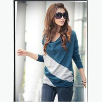 Elegant and Comfortable Diagonal Stripes Long Sleeves T-Shirt For Women