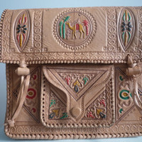 Tribal Crossbody Leather Bag with Multi-Colored Accents