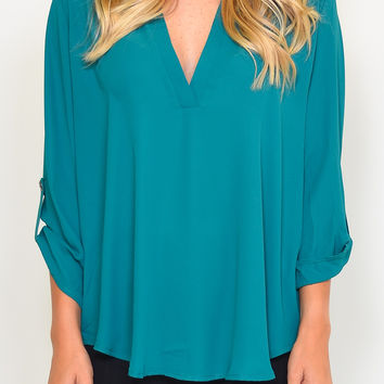 Emerald 3/4 Sleeve Chiffon Blouse