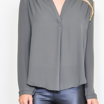 Olive Pleated Chiffon Blouse