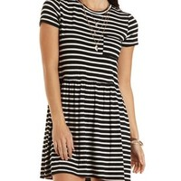 Striped T-Shirt Dress with Pocket by Charlotte Russe - Black Combo