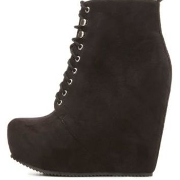 Lace-up Hidden Wedge Booties by Charlotte Russe - Black