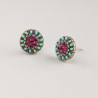 Turquoise and Purple Stud Earrings - World Market